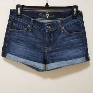 7FAMK Shorts Blue Cuffed Roll Up Mid Rose Blue 24